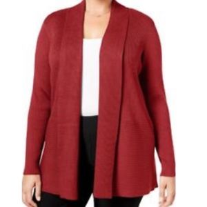 JM Collection Red Cardigan